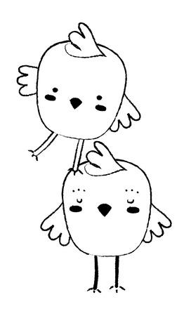 Grunge chicks farm birds animal playing Stock Illustratie