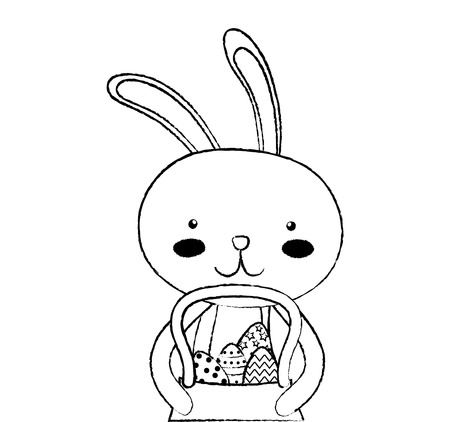 grunge happy rabbit with eggs inside hamper Illustration