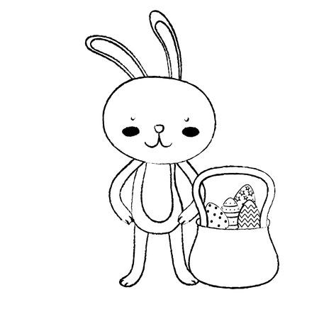 Grunge rabbit animal and eggs easter inside hamper