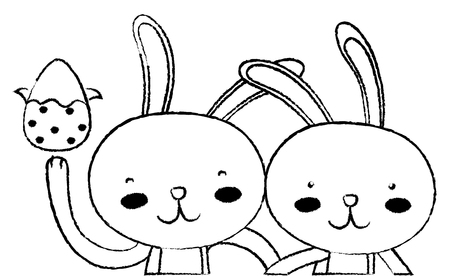grunge happy rabbit couple together with egg easter 일러스트