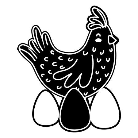 silhouette hen bird farm animal with eggs vector illustration