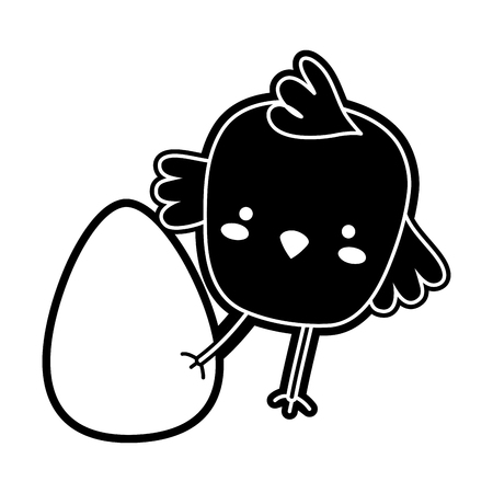Silhouette chick bird animal playing with egg