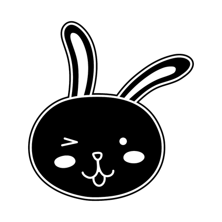 Silhouette funny rabbit head animal cartoon 일러스트