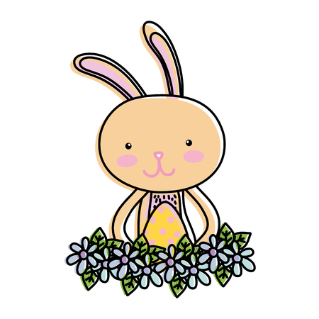 line color rabbit with egg easter with flowers Illusztráció