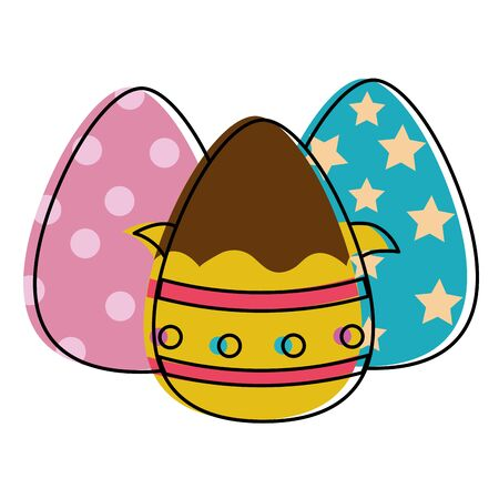 Line color chocolate eggs Easter decorations design