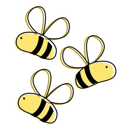 Line color cute bees insect animal flying