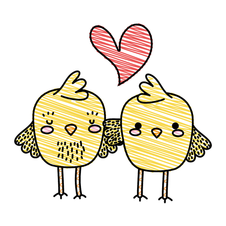 Grated chicks couple together and love heart