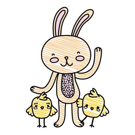 grated chicks with rabbit animal Vector illustration. Иллюстрация