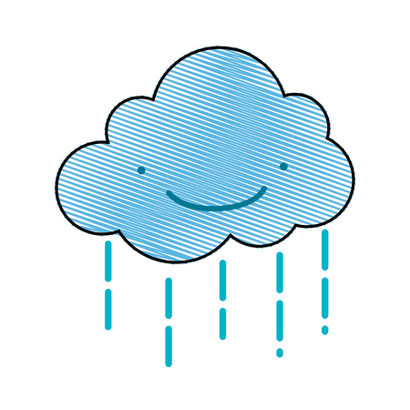 Grated style smiling blue cloud with raindrops. Vector illustration on white background. Иллюстрация