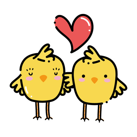 color chicks couple together and love heart