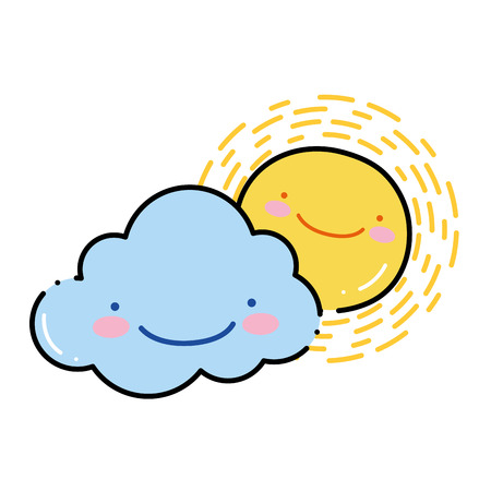 color happy sun with cloud kawaii natural weather Illustration