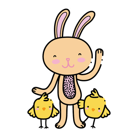 color chicks with rabbit animal to easter celebration Stock Illustratie