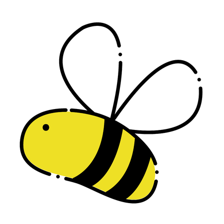 color cute bee insect animal flying  イラスト・ベクター素材