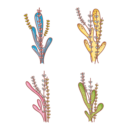 Set of seaweeds doodles