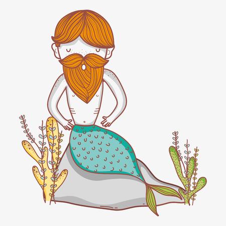 Contented mermaid man cartoon