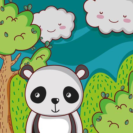 Cute panda on forest doodle cartoon Illustration