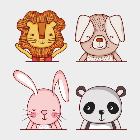 Cute and wild animals doodle cartoons isolated on white background.