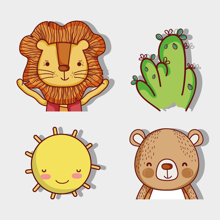 Lion and and bear with nature cute cartoons Illustration