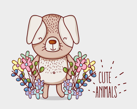 Cute flowers doodle cartoons isolated on white background.