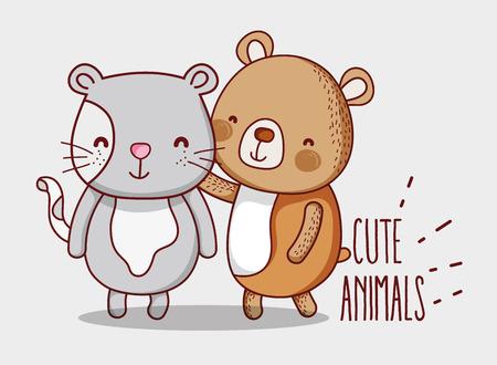 Bear and cat doodle cartoons Illustration