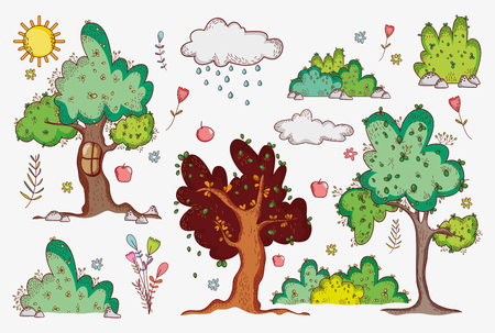 Nature doodle cartoons illustration