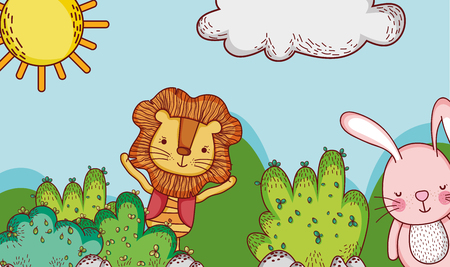 Cute lion and bunny in forest doodle cartoons illustration