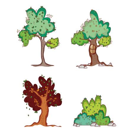 Set of trees doodles cartoons illustration Иллюстрация