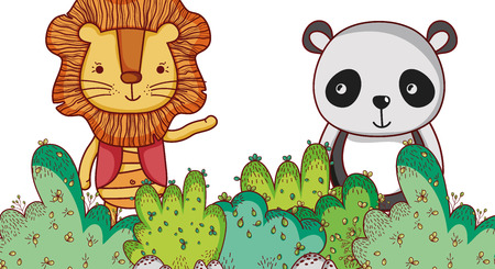 Lion and panda bear in the forest vector illustration.