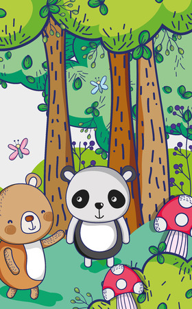 Bears in the forest doodles cartoons illustration