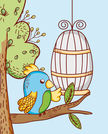 Parrot out of cage doodle cartoon vector illustration graphic design