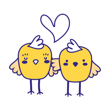 full color chicks couple together and love heart vector illustration
