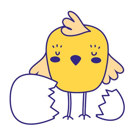 full color chick farm bird animal broking egg vector illustration