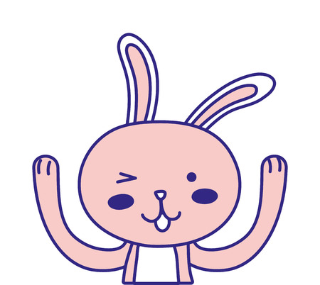 Colored  funny rabbit animal cartoon with hands up
