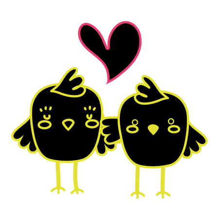 Neon flat chicks couple together and love heart