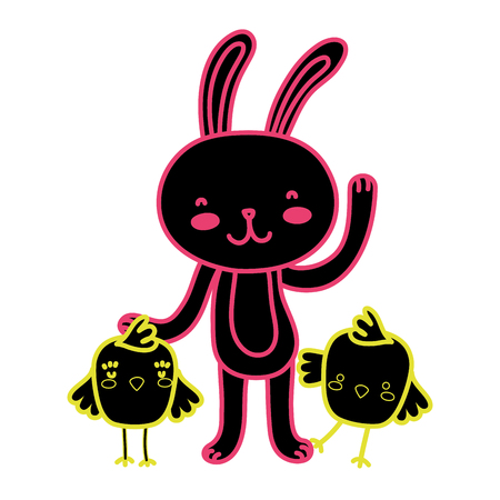 Neon flat chicks with rabbit animal for Easter celebration