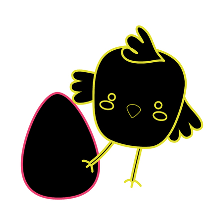 neon flat chick bird animal playing with egg