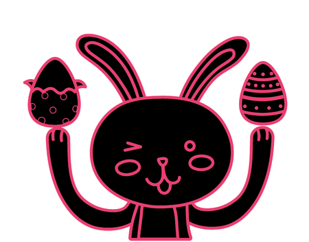 neon flat eggs easter decoration and rabbit animal