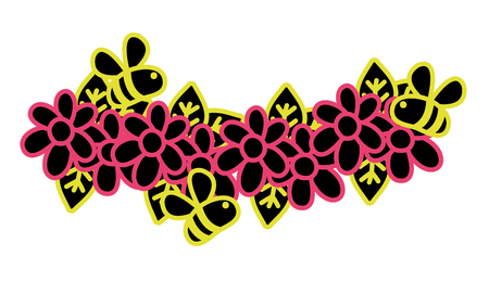 A neon flat flowers with petals and bees insects flying vector illustration