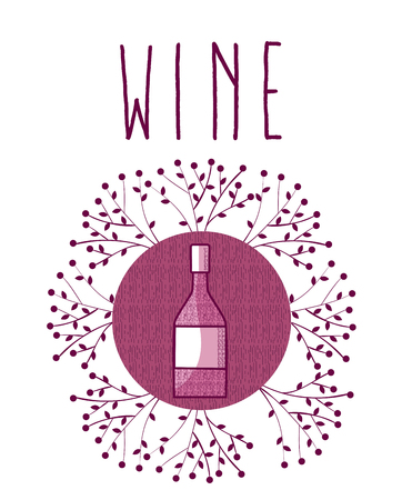 Wine round symbol with leaves vector illustration graphic design