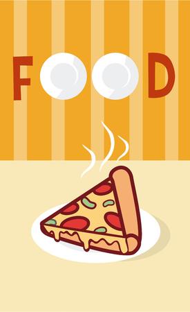 Pizza Italian fast food cartoon menu cover.