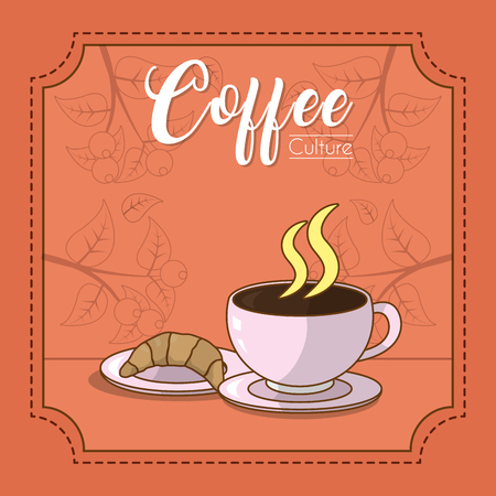 Coffee time with croissant vector illustration graphic design