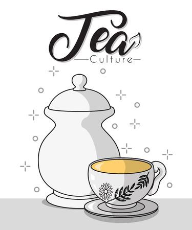 Tea culture concept with tea cup and tea pot Illustration
