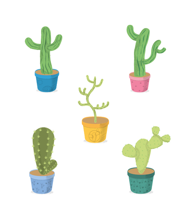Cactus on pot cartoons icons vector illustration graphic design.