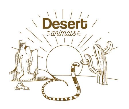 Desert animals hand drawing cartoon Ilustração
