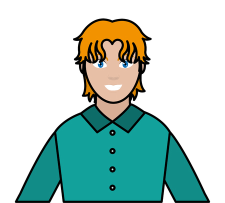 line color avatar man with elegant shirt and hairtyle Illustration