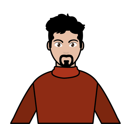 line color avatar man with shirt design and hairstyle