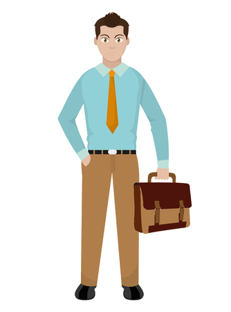 elegant man with suitcase and clothes style vector illustration
