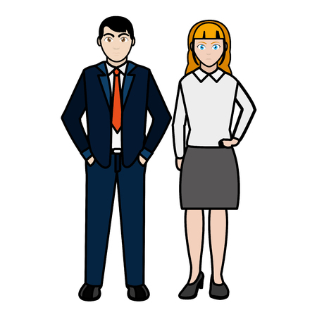 line color businesspeople with elegant clothes and hairstyle design