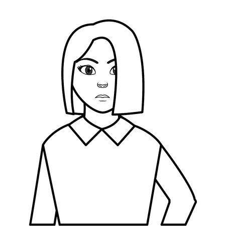 line avatar woman with elegant blouse style
