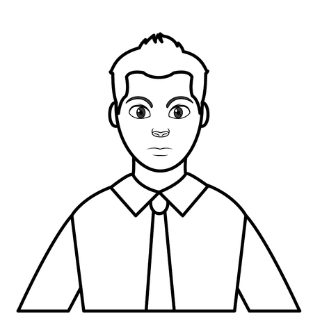 line avatar elegant man with shirt and tie style